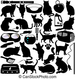Cats, Kittens and Accessories - Vector Silhouettes of Cats,...