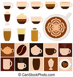 Coffee, Tea, Chocolate - A vector set of Hot Beverages -...