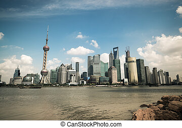 shanghai scenery in the bund riverside - shanghai scenery...