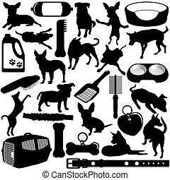 Dogs, Puppies and Accessories - Vector Silhouettes of Dogs,...