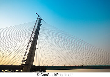the cable-stayed bridge construction - construction of the...