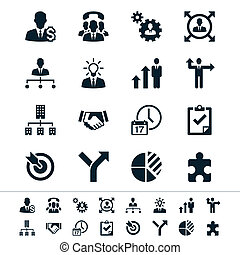 Business and management icons - Simple vector icons Clear...