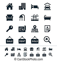 Real estate icons - Simple vector icons Clear and sharp Easy...
