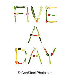 Five A Day Vegetables - Vegetable selection spelling the...