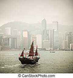 chinese traditional wooden sailboat sailing - Hong Kong...