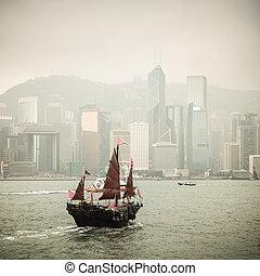 chinese traditional wooden sailboat sailing - Hong Kong...