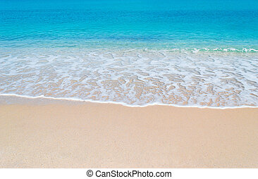 turquoise foreshore - turquoise water and golden sand in...