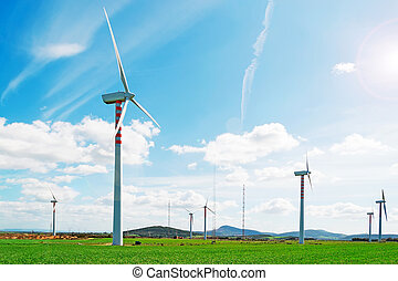 windpower installation in Sardinia countryside