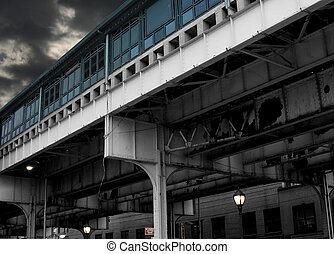 NYC Subway Overpass - Artistic detail of a New York City...