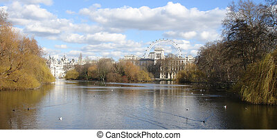 beautiful lake with birds and 