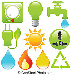 Vector Icons: Energy Saving, water, electricity, solar power