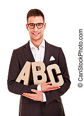 business man writing coaching concept abc bussiness
