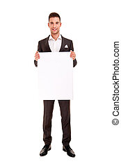 Handsome young man in classic suit - business; men; board;...