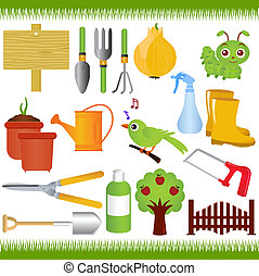 Garden tools / equipments - Vector Icons : Gardening, and...