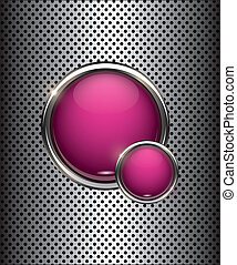vector chrome buttons with metal background