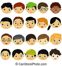 boys, Man, Kids (Male Set) - A Theme of cute vector Icons :...