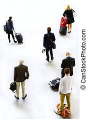 arte, silhuetas, pessoas, viajando, esperando, Partida