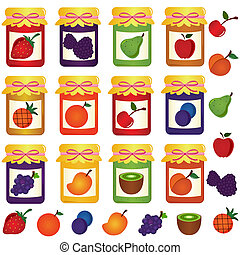 Bottles of home-made Jam (jelly) - vector Icons: Bottles of...