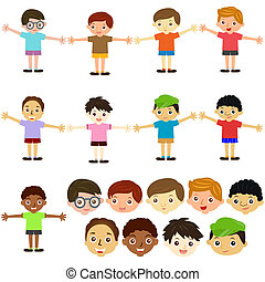 Boys, Man, Kids Male Set - A Theme of cute vector Icons :...
