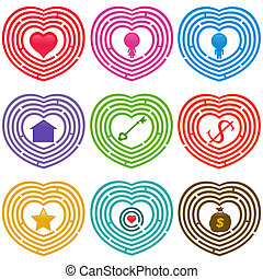 Targets for life, Labyrinths - A colorful set of Maze Icons...