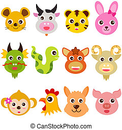 Twelve Zodiac signs - A set of colorful and cute vector...