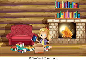 A girl fixing her books near the fireplace - Illustration of...