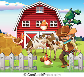 An old armed cowboy at the farm with a red barnhouse