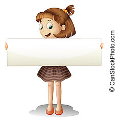 A smiling young girl holding an empty cardboard -...