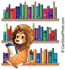 A lion reading a book while sitting on a bookshelf -...