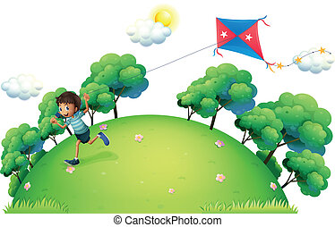 A boy flying a kite - Illustration of a boy flying a kite on...