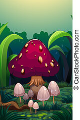A giant mushroom surrounded with small mushrooms -...