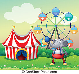 An elephant at the carnival