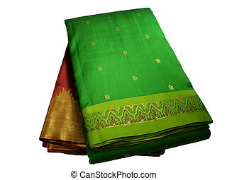 Silk Saris - Closeup of two silk saris with beautiful...