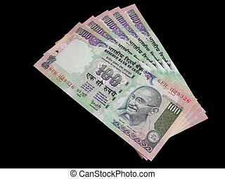 Currency of India - Closeup of one hundred indian rupee...