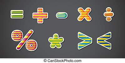 Math signs - Illustration of the Math signs on a gray...