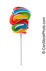 colorful lollipop on stick isolated on white background
