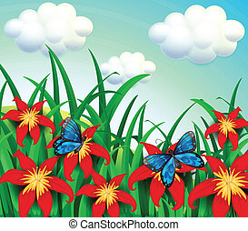 Two butterflies at the garden with red flowers -...