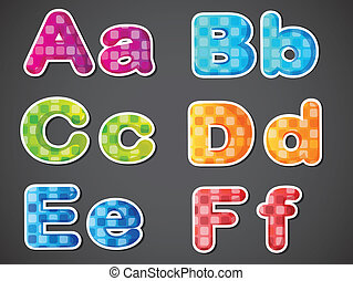 Six colorful letters of the alphabet - Illustration of the...