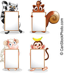 Four different animals with empty whiteboards - Illustration...