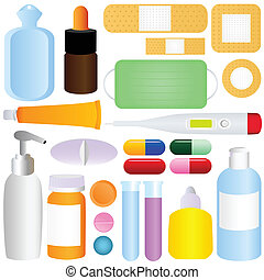 Medicines, Pills, Medical Equipment - Cute vector icons:...