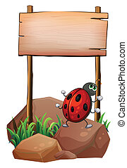 A bug below the empty wooden signboard - Illustration of a...