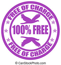 Free of charge - Stamp with text free of charge inside,...