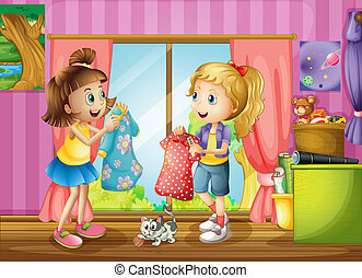 Two girls talking about their dresses - Illustration of the...