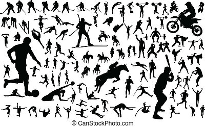 Sportsmen - Set of vector silhouettes of people in sports