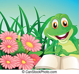 A frog with a book at the garden
