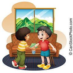 Two boys shaking hands near the sofa - Illustration of the...