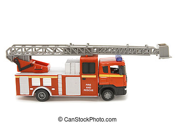 fire brigade close up - object on white - toy fire fighting...