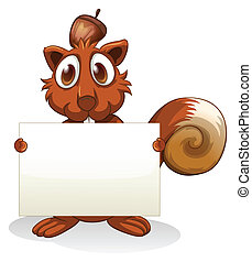 A squirrel holding an empty signboard - Illustration of a...