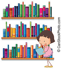 A smiling young girl reading in front of the bookshelves -...
