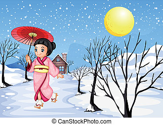 A Chinese lady walking under the snow